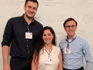 Benjamin Schwanebeck, Elina Khachatryan (Kassel) and Benjamin Schäfer (Siegen) (f.l.t.r) at the 6th Lindau Nobel Laureate Meeting in Economic Sciences